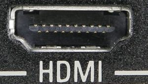 View of HDMI-port on LCD screen